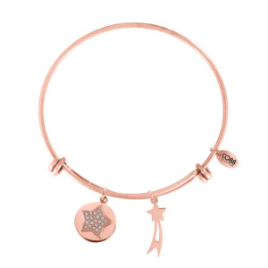 CO88 Armband 'Ster-Komeet' staal/rosékleurig, all-size 8CB-10003