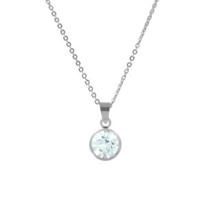 CO88 Ketting 'Birthstone April' staal/kristal 42-47 cm 8CN-10016