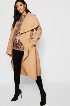 Maternity Wool Look Wrap Front Coat, Stone
