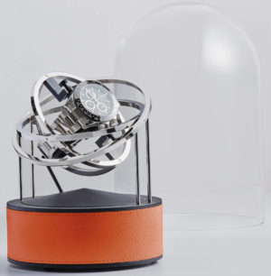 Bernard Favre Planet Silver&Orange leather watch winder